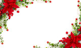 Fototapeta Kwiaty - Christmas decoration. Frame of flower of red poinsettia, branch christmas tree, red berry on a white background with space for text. Top view, flat lay