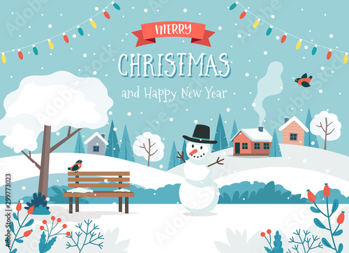 Merry christmas card with cute landscape and snowman Canvas Print