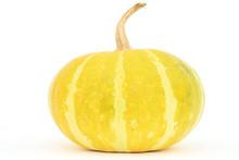 Single Yellow Gourd On White Background