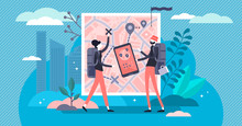 Trip Planning Vector Illustration. Tiny Journey Route Plan Persons Concept.