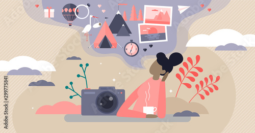Obraz Sweet memories vector illustration. Tiny nostalgia feeling persons concept. - fototapety do salonu