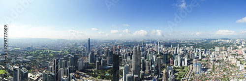 View from above, stunning panoramic view of the Kuala Lumpur skyline during a cloudy day Wallpaper Mural