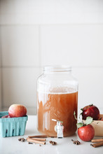 Jar Of Apple Cider With Apples...