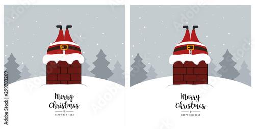 Fotografía  santa stuck in chimney winter snowy landscape