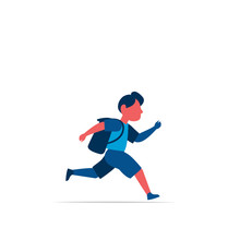 Running Schoolboy With Backpack Isolated On White Background Vector Illustration