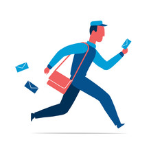 Running Postman With Letters And Bag Isolated Vector Illustration