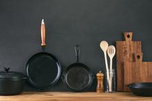 Kitchen Utensils Dark Backgrou...