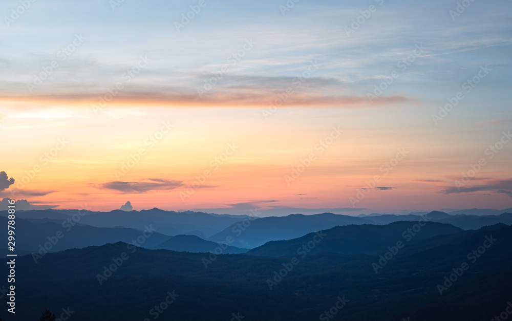 Fototapety, obrazy: sunset and twilight light in the forest on the mountain