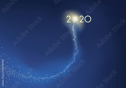 Carte de vœux présentant l'objectif 2020 sous la forme d'une comète explosant en feu d'artifice, symbole de réussite pour la nouvelle année Wallpaper Mural