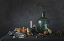 Vegetables On Plate Beside Vase