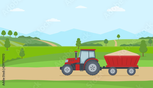 Photo Red tractor with trailer on rural landscape background