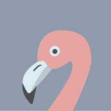 Pink Flamingo Head. Retro Styl...