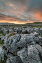 Limestone Pavement At Sunset, Ingleton, Yorkshire Dales, Yorkshire