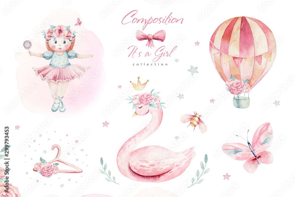 Fototapety, obrazy: Baby shower kid swan watercolor girl design cartoon elements. Set of baby pink birthday balloon toy dress illustration. Newborn party set invitation