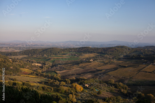 View over looking Italy valley and hills purple and blue horizon