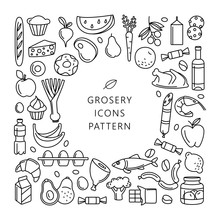 Grosery Supermarket Goods Pattern Store Food, Drinks, Vegetables, Fruits, Fish, Meat, Dairy, Sweets