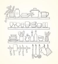 Hand-drawn Kitchen Shelves