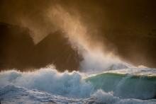 Waves Crashing Against Rocks, ...