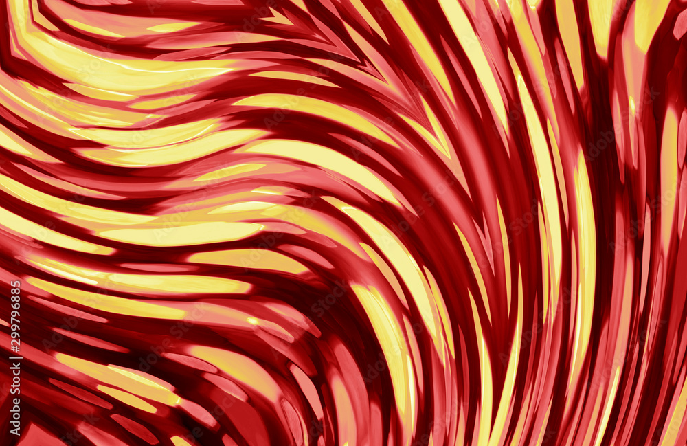 Contemporary abstract art work with streaks of red and gold
