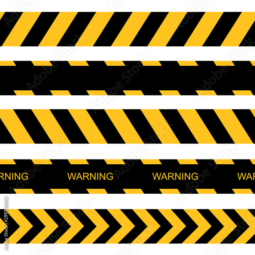 Photo  Vector seamless warning tapes. Vector caution lines.