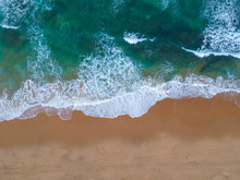 Sand Beach Aerial, Top View Of...