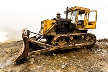 Old Broken Tractor On The Mountain Pass Abano (2926 M). Georgia, Tusheti