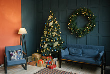 Christmas Decor In The Living Room In Loft Style, Blue And Red