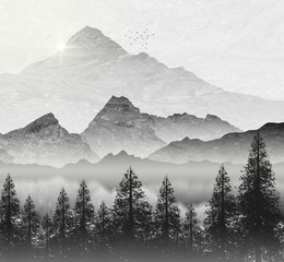 Mountain region illustration, with fir trees and setting sun.