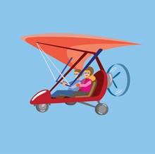 Hang Glider Motorized Flat Vector Illustration