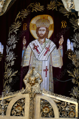 Icons on the Iconostasis that separates nave from apse Canvas Print