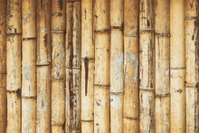 Ddry Bamboo Texture Exactly Vertically Straight Wall Floor Light. Eco Natural Background Concept. Yellow Bamboo Fence Texture Background