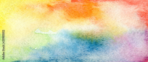 Art Abstract watercolor paint blots . Colors background. Paper texture. Horizontal long banner..