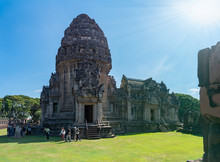 The Beautiful Stone Castle In Phimai Historical Park. Prasat Hin Phimai Ancient Khmer Temple In Nakhon Ratchasima Thailand. .Phimai Stone Castle Built From Laterite Stone In Angkorian Period Arts