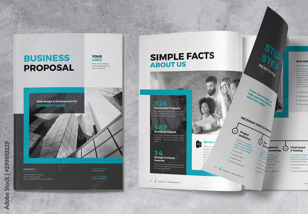 Fototapety, obrazy: Proposal Brochure Layout with Blue Accents