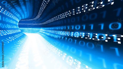 Valokuva  Datentunnel, Highspeed Datenübertragung mit blauen Binärcode