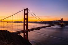 Purple Sunrise Over Golden Gate Bridge And San Francisco California