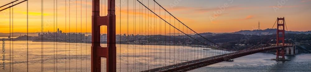Panoramic of San Francisco California through Golden Gate Bridge at Sunrise