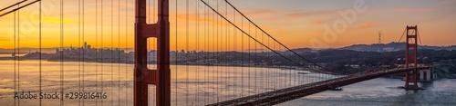Panoramic of San Francisco California through Golden Gate Bridge at Sunrise фототапет