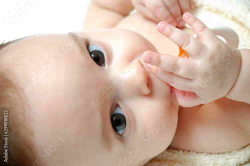 Close-up portrait of a little baby with dummy Tapéta, Fotótapéta