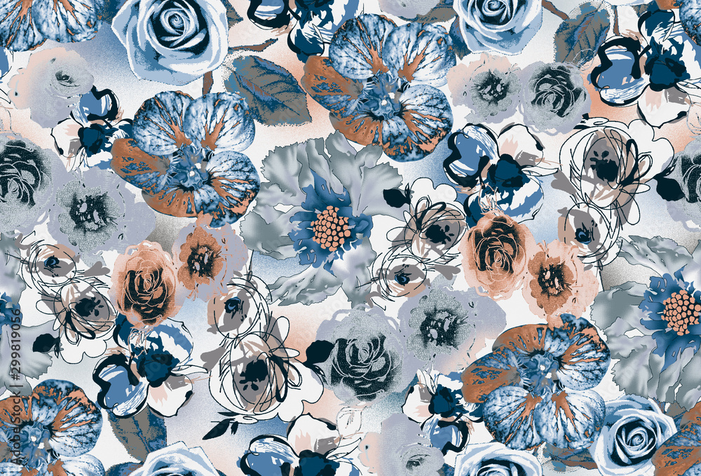 Watercolor seamless pattern with simple hand drawn flowers