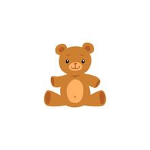 Cute Teddy Bear Toy Image Or Icon Flat Cartoon Vector Illustration Isolated.