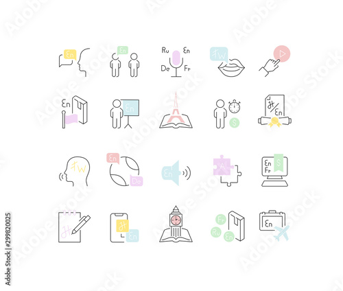 Set Vector Line Icons of Foreign Language. Canvas Print