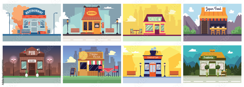 Fototapeta Colorful cafe and restaurant building banner set in flat cartoon style.