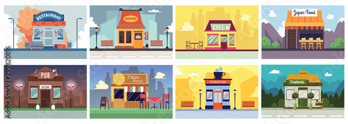 Colorful cafe and restaurant building banner set in flat cartoon style.