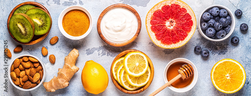 Stampa su Tela  Healthy products for Immunity boosting and cold remedies
