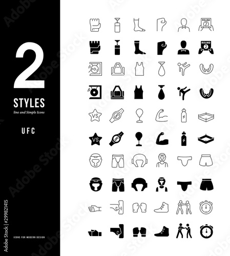 Simple Line Icons of UFC Canvas Print