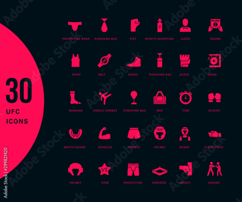 Fotomural Set of Simple Icons of UFC