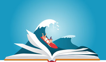 Little Girl On A Surfboard, Riding A Wave Behind An Open Book, EPS 8 Vector Illustration