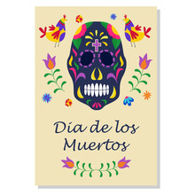 Dia De Los Muertos Holiday Poster With Black Sugar Skull And Floral Ornaments