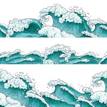 Hand Drawn Blue Water Wave Set...